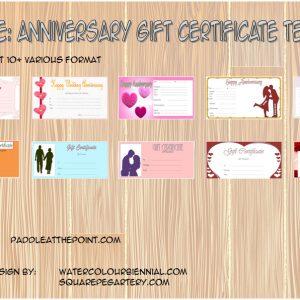 Anniversary Gift Certificate
