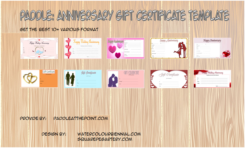 Anniversary Gift Certificate Template Hy Wedding Free
