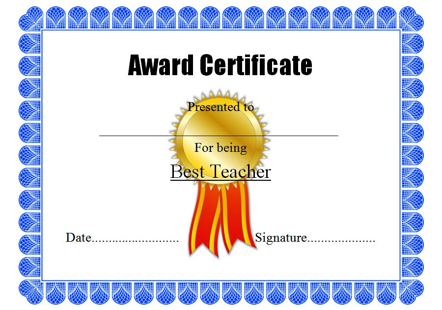 Best Teacher Certificate Template 7