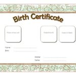 Kitten Birth Certificate Template