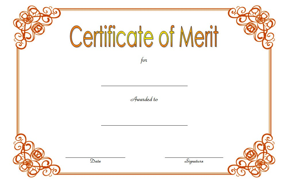 Certificate Of Merit Award Templates For Students