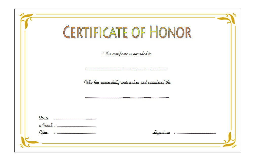 Honor Award Certificate Template 3