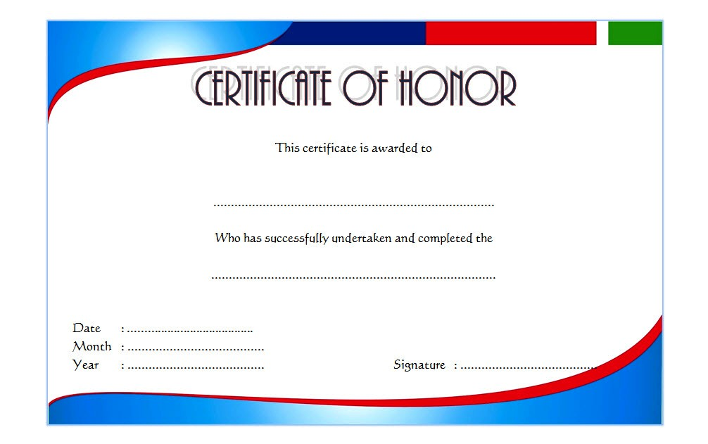 picture relating to Free Printable Honor Roll Certificates identified as Honor Award Certification Template 6 Paddle At The Level