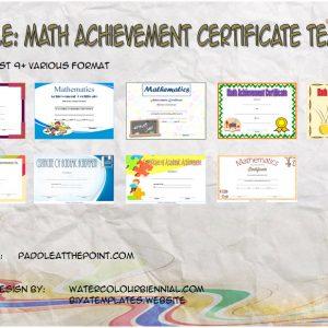 Math Achievement Certificate Printable