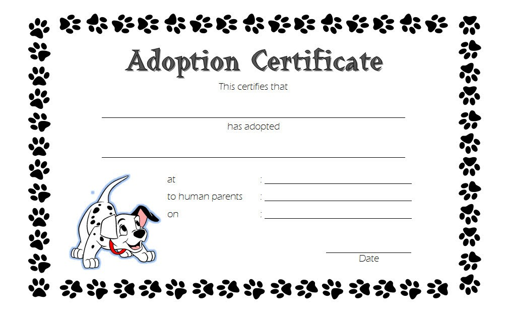 Pet Adoption Certificate Template 6