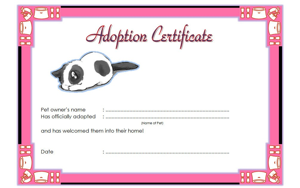 Pet Adoption Certificate Template Free