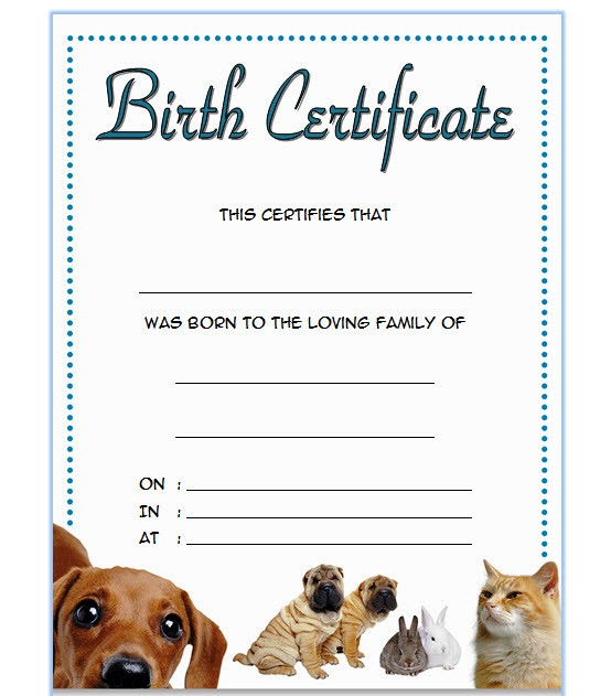 Pet Birth Certificate Template - 7+ Editable Designs FREE