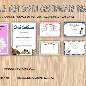 Pet Birth Certificate Template Editable