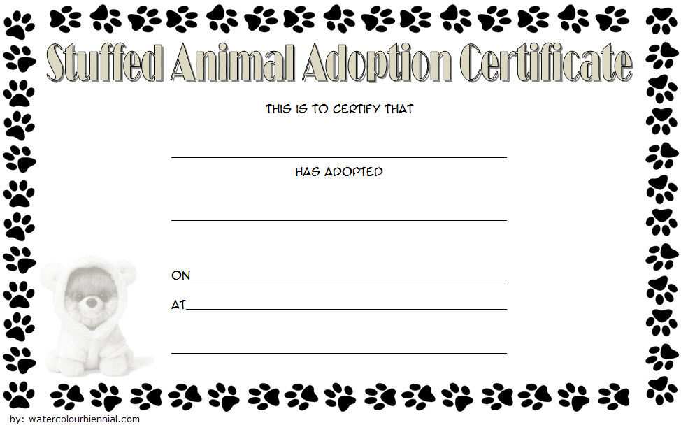 Stuffed Animal Adoption Certificate Template 1 Paddle At The Point