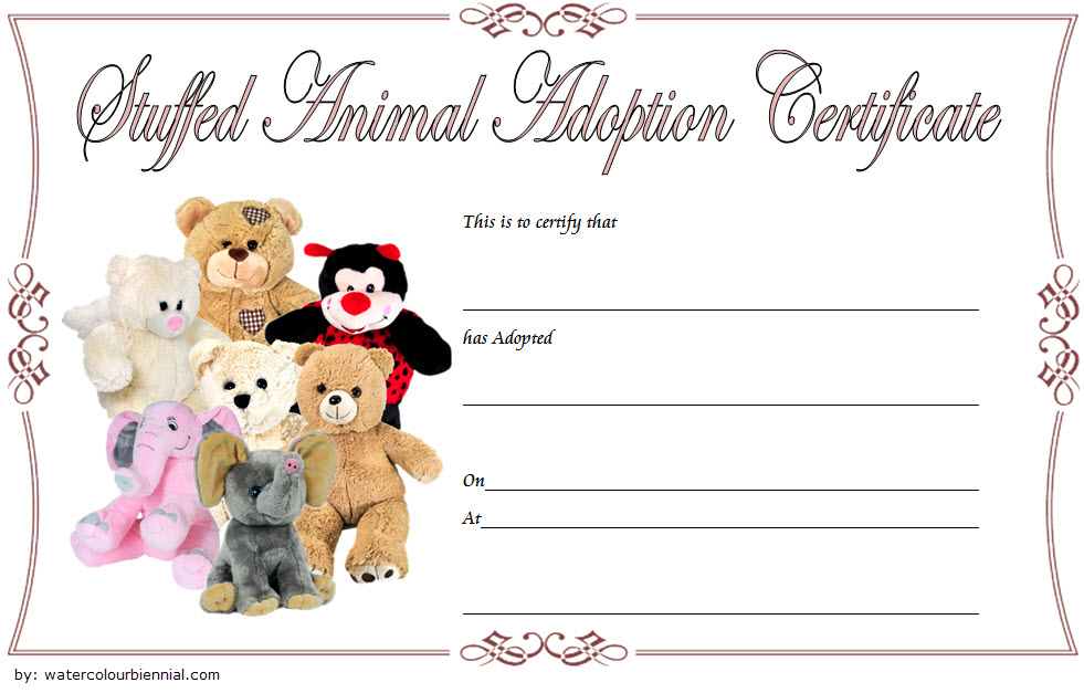 Stuffed Animal Adoption Certificate Template 3
