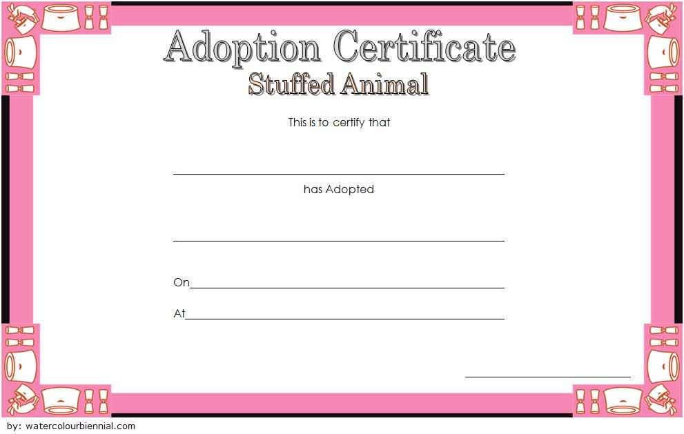 Stuffed Animal Adoption Certificate Template 4