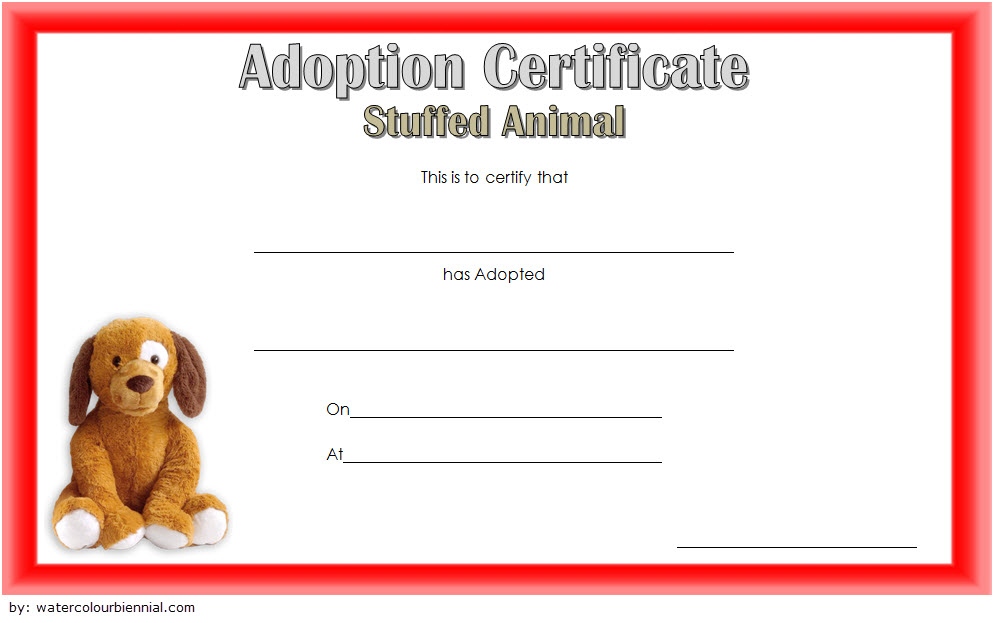 Stuffed Animal Adoption Certificate Template 5