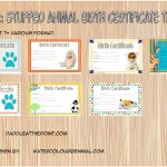 Stuffed Animal Birth Certificate Templates Paddle