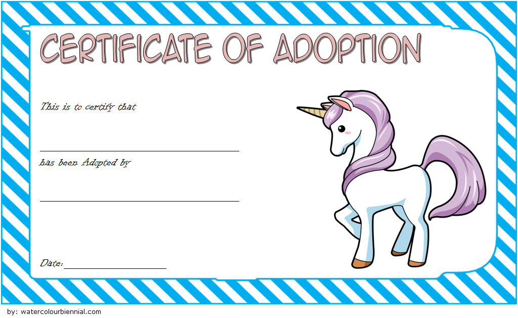 picture regarding Free Printable Adoption Certificate called Unicorn Adoption Certification Template 1 Paddle At The Reality