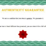 Authenticity Certificate Template 2