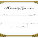 Authenticity Certificate Template 3
