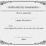Authenticity Certificate Template 8