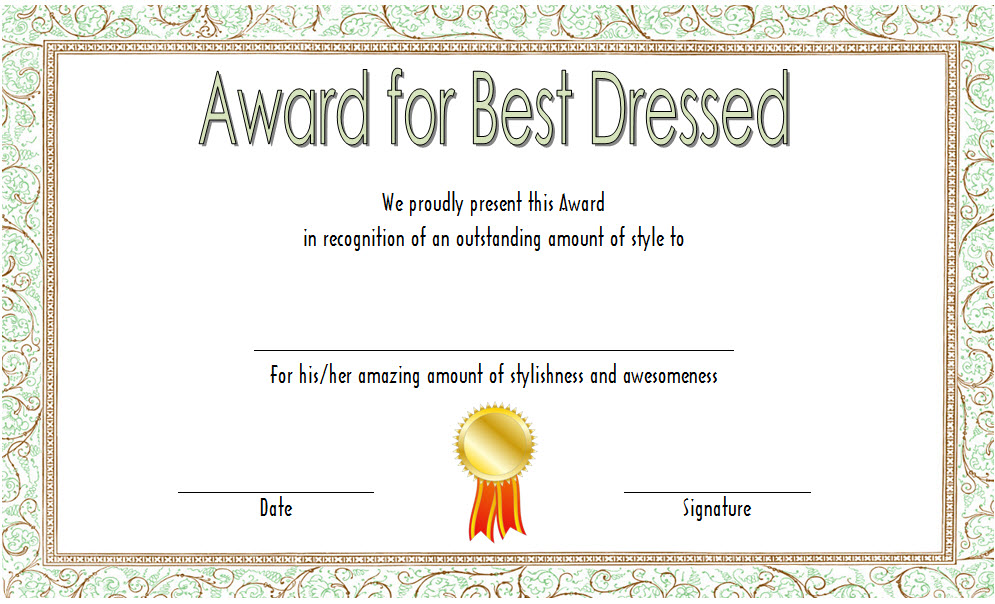 Best Dressed Certificate Templates - 9+ Best Ideas