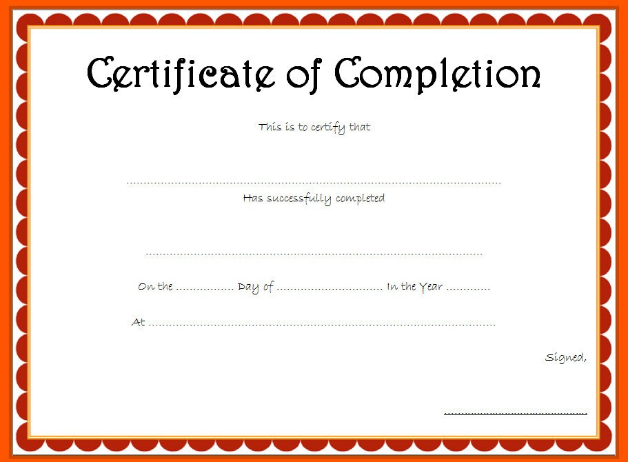 Certificate Of Completion Template 5