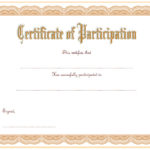 Participation Certificate Templates Free Printable