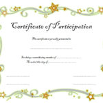 Participation Certificate Template 2