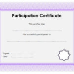 Participation Certificate Template 8