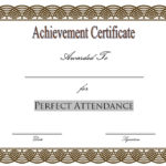 Perfect Attendance Certificate Template Editable