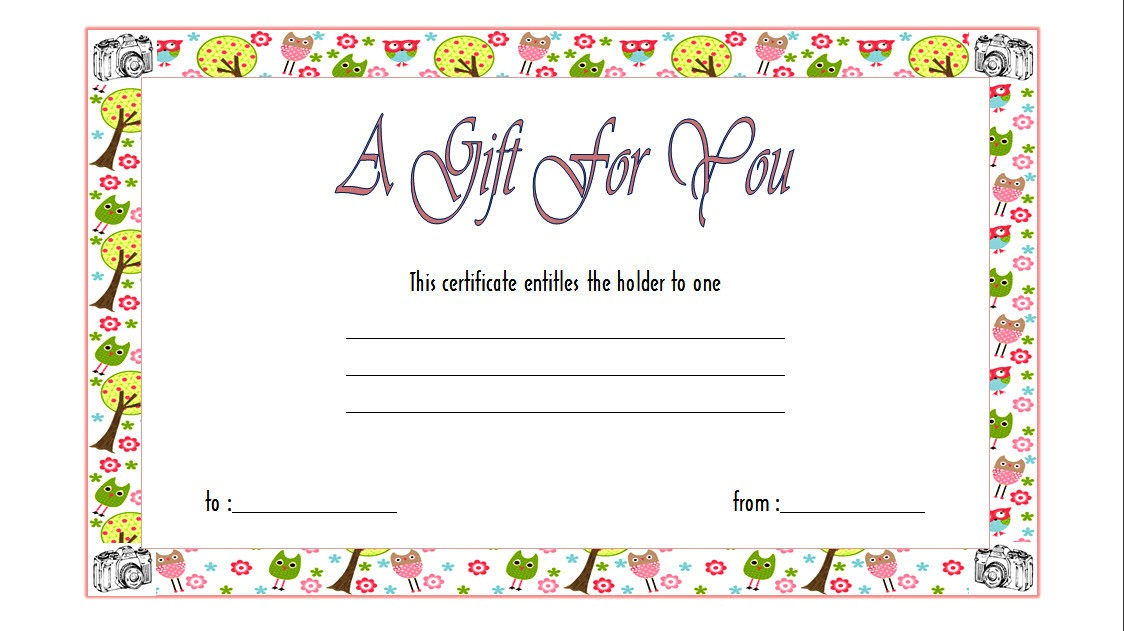 Free Photography Session Gift Certificate Template Gift Ideas