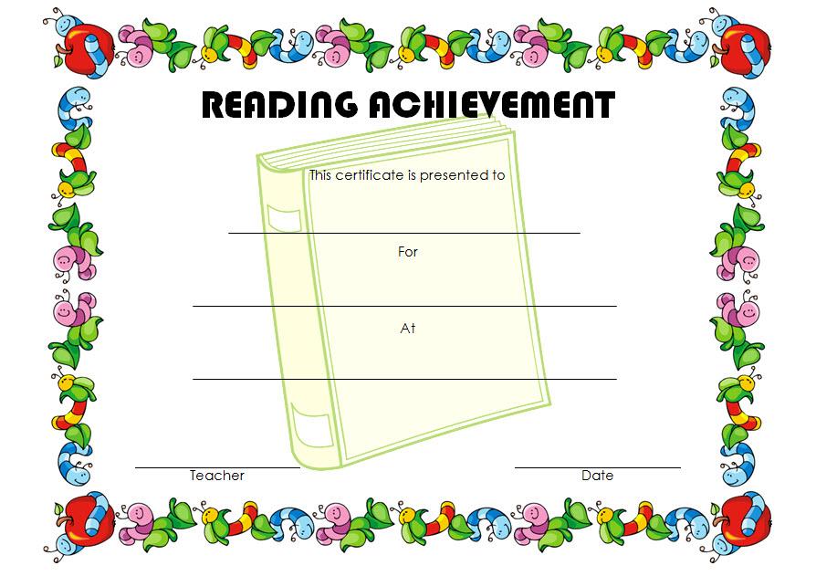 Reading Achievement Certificate Template 1