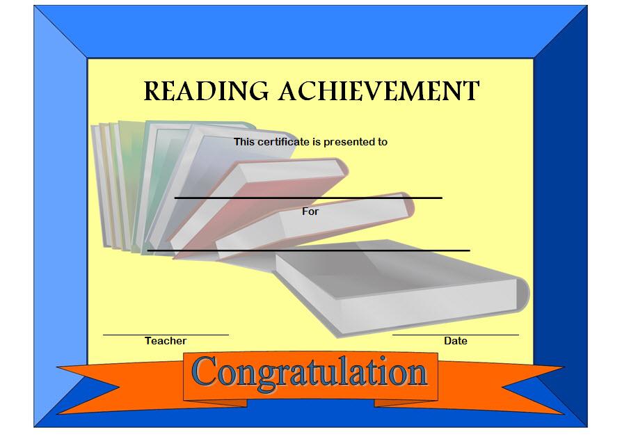Reading Achievement Certificate Template 3