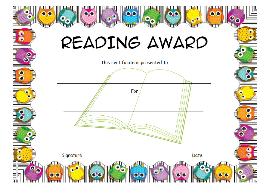 image relating to Free Printable Reading Certificates identified as Looking at certification template