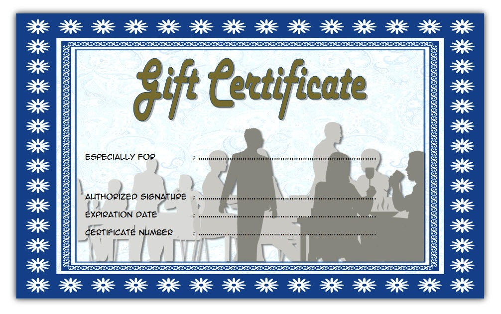 image relating to Printable Restaurant Gift Cards identified as Cafe Present Certification 4 Paddle At The Place