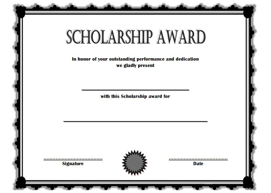 Scholarship Award Certificate Templates Printable Memorial Wording Editable