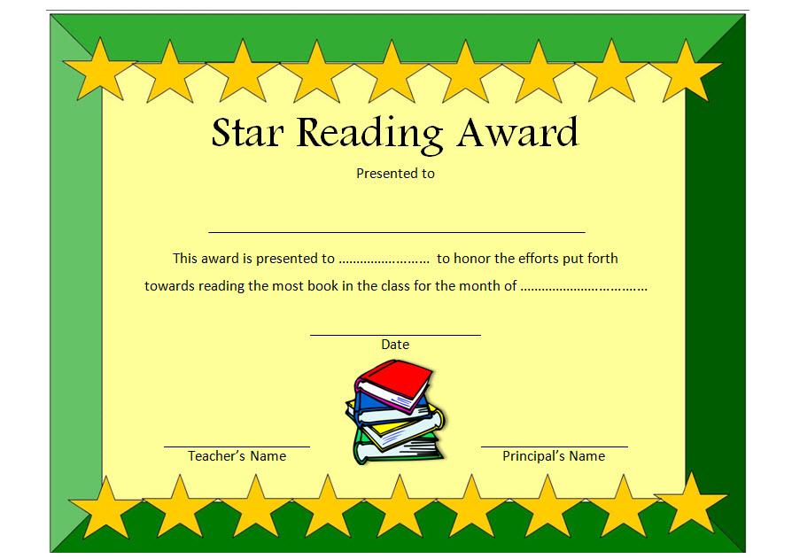 Star Reading Award Certificate