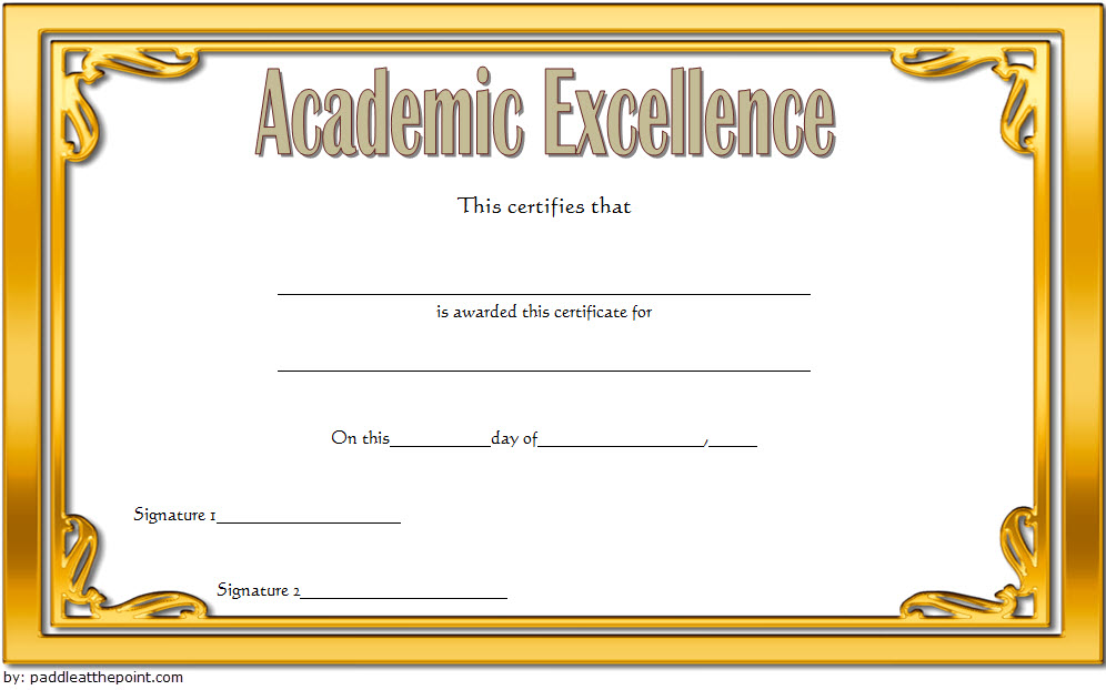 Academic Excellence Certificate Template Gold