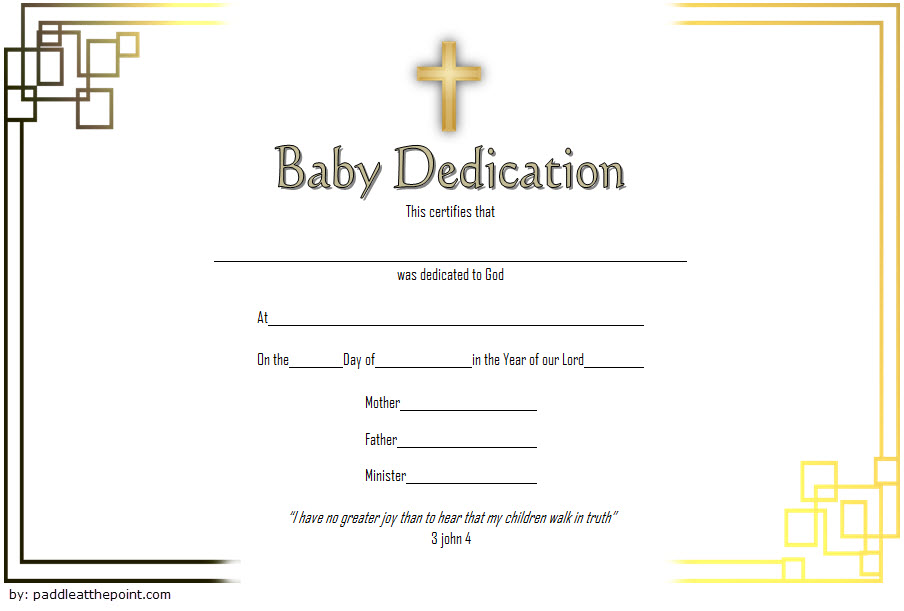 Baby Dedication Certificate Template 3 Paddle At The Point