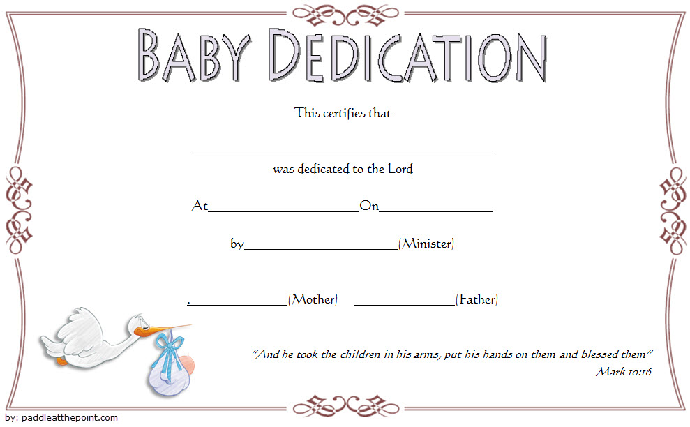 Baby Dedication Certificate Template 6 Paddle At The Point