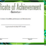 Badminton Achievement Certificate Template