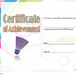 Badminton Achievement Certificate Template 2