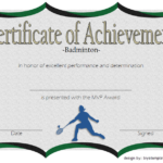 Badminton Achievement Certificate Template 5