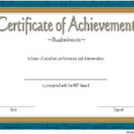 Badminton Achievement Certificate Template 6