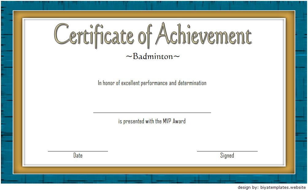 Badminton Achievement Certificate Template 6