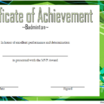 Badminton Achievement Certificate Template 7