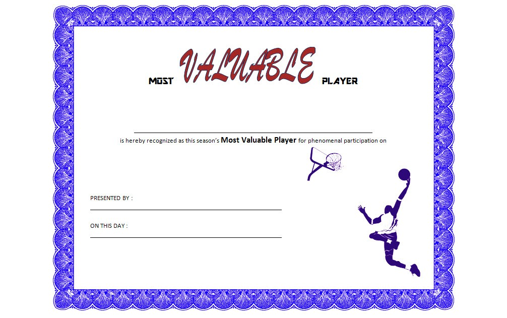 Basketball MVP Certificate Template 8