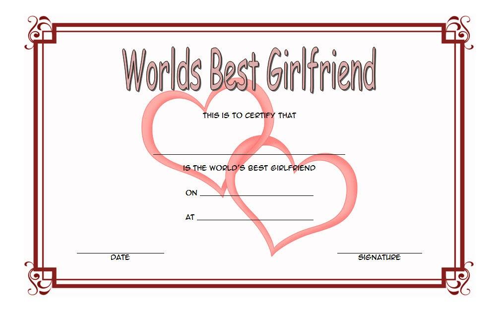 Best Girlfriend Certificate Template 4