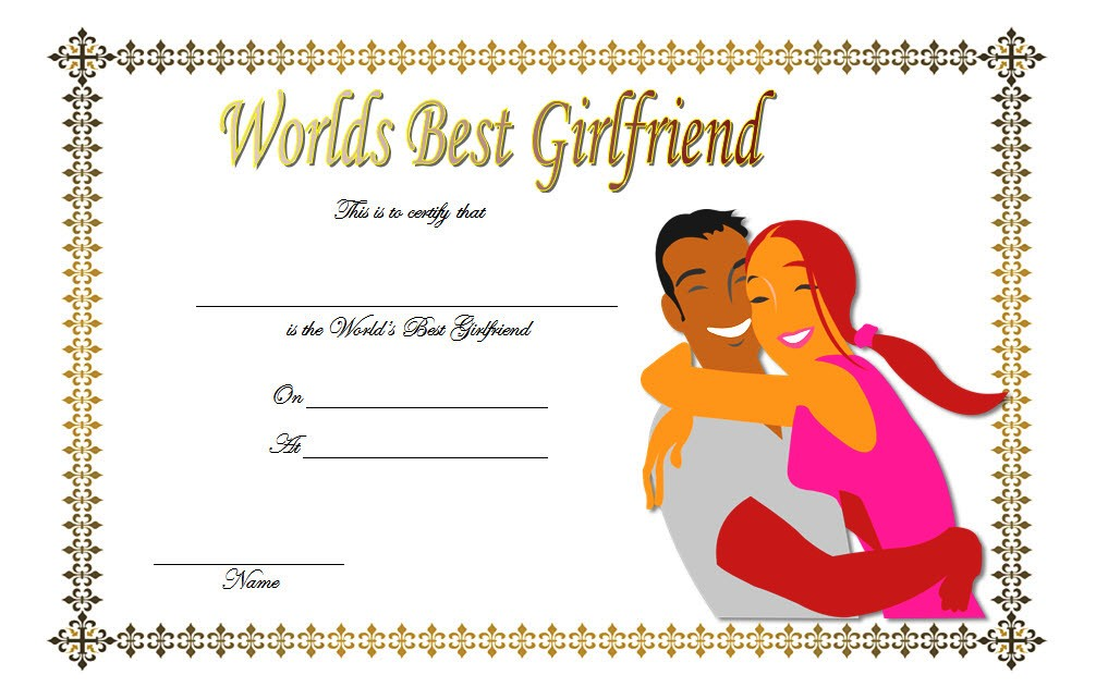 Best Girlfriend Certificate Template 9