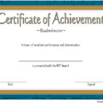 Certificate Of Achievement For Badminton