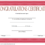 Congratulation Winner Certificate Template 1