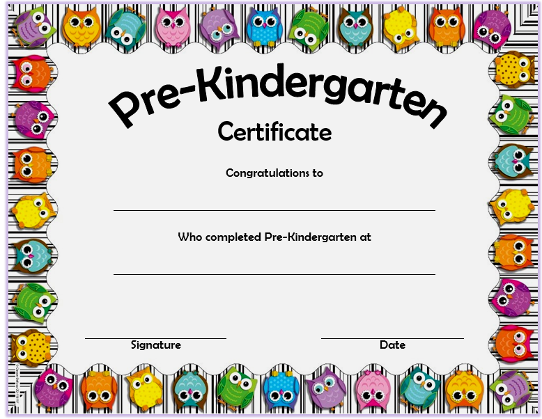 Editable Pre K Graduation Certificate Template 4
