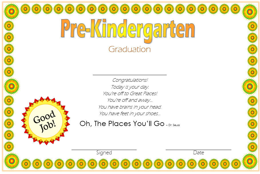 Editable Pre K Graduation Certificate Template 9